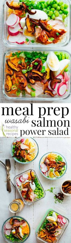 These Meal Prep Wasabi Glazed Salmon Power Salads are high protein, gluten-free and totally satisfying for a week of healthy lunches. Healthy Seasonal Recipes by Katie Webster Easy Meal Prep, Healthy Meal Prep, Easy Meals, Healthy Eating, Healthy Lunches, Healthy Salad Recipes, Lunch Recipes, Dinner Recipes, Vegan Recipes