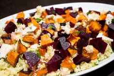 Couscous with Roasted Pumpkin, Beetroot and Feta - Liliana Battle - CLAUDİA Beetroot Recipes Salad, Pumpkin And Beetroot Salad, Beetroot And Feta Salad, Salad Recipes Healthy Lunch, Pumpkin Salad, Couscous Recipes, Couscous Salad, Vegetarian Recipes, Cooking Recipes