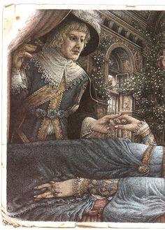 Roberto Innocenti (Sleeping Beauty by Charles Perrault) Antique Illustration, Children's Book Illustration, Sleeping Beauty Art, Blue Fairy, Grimm Fairy Tales, Briar Rose, Fairytale Art, Disney Inspired, Cool Artwork