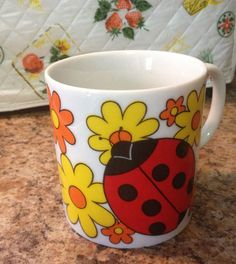 70s Lady Bug Mug by lishyloo on Etsy, $6.00