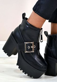 NEVE Chunky Heel Zip Cross Buckle Front  Ankle Boots BLACK
