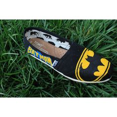 Batman Original Custom Acrylic Painting for Toms/Canvas Shoes found on Polyvore