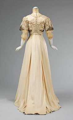 Dress, Evening  Date: 1908–10 Culture: American Medium: silk, metal Dimensions: Length at CB: 67 1/2 in. (171.5 cm) Credit Line: Brooklyn Museum Costume Collection at The Metropolitan Museum of Art, Gift of the Brooklyn Museum, 2009; Gift of Ann Ellis, 1993