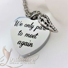"""Our Chain Will Link Again is an elegant memorial necklace that reconnects human with their lost souls in heaven. This pretty sterling silver necklace with a hollow heart shaped pendant is engraved with meaningful words """"We Only Part to Meet Again"""" to commence your separation in a beautiful way. May be their presence is physically absent, but will connect in future. https://www.lindastars.com/collections/together-for-ever-collection/products/our-chain-will-link-again"""