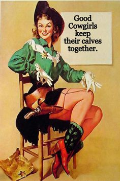 Cowgirl Cards - Good Cowgirls Keep Their Calves Together 5x7 Blank Inside