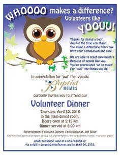 Baptist Homes Volunteer Banquet Invitations. How to celebrate Volunteers!