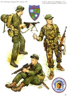 U.S.ARMY - 1 PFC, 6° Rangers, 1945 - 2nd Leutnant, Alamo Scout, Philippine 1945 - 3 Corporal, 5307 Composite Unit, Burma 1944