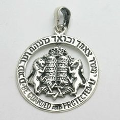 Men's Judaica Pendant, Be guarded and protected. Lions 10 commandments, Star of David