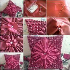 Satin flower sew pillow