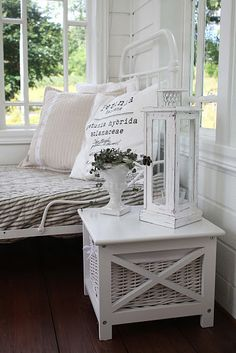 bed on sun porch ~ love it!