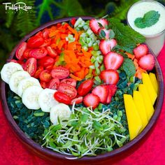 FullyRaw   -    FullyRaw Strawberry Mint Salad! My feast before the 14-Day FullyRaw Bikini Body challenge begins! What you eat today, you use tomorrow...so FUEL UP! My bowl is overflowing with dino kale, strawberries, cucumbers, mango, cherry tomatoes, rainbow bell peppers, celery, and sprouts! My side dressing is orange juice, mint, and hemp seeds! Abundance! I  Kristina Carrillo-Bucaram Rawfully Organic Co-op www.instagram.com/fullyrawkristina