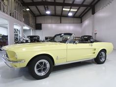 The 1967 Ford Mustang Convertible featured here is finished in the stunning factory color combination of Springtime Yellow over a black interior and black power folding convertible top. This particular example was completed at the. Best Muscle Cars, American Muscle Cars, Mustang Convertible For Sale, Ford Mustang 1967, Camaro Rs, Color Combinations, Classic Cars, Interior
