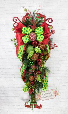 43 inch Christmas Teardrop Swag, Christmas Door Swag, Elf Legs Swag, Holly Berry Swag, Christmas Wreath, Christmas Swag, Front Door Wreaths by Splendid Homecrafts on Etsy