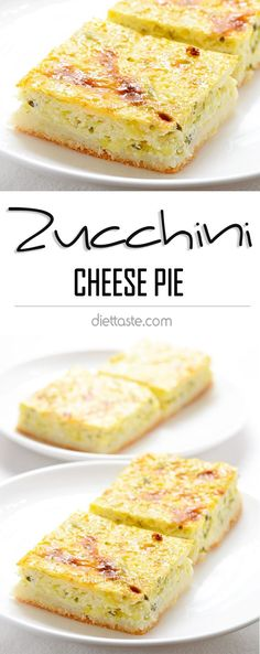 Zucchini Cheese Pie - shredded zucchinis mixed with cottage (or ricotta) cheese, cream and eggs, then poured into a pie crust; sweet or savory - diettaste.com