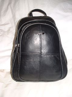 Lorenz Genuine Soft Nappa Leather Backpack / Rucksack / Shoulder Bag Black BNWT