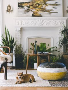Fireplace, artwork, and lots of plants.