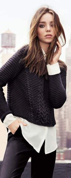 cropped charcoal sweater with long ivory blouse | Miranda Kerr for Mango