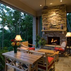 Outdoor Stone Fireplace Design, Pictures, Remodel, Decor and Ideas - page 12