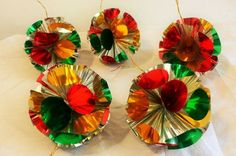 5 Vintage metallic foil baubles Christmas tree decorations 1980 s retro more av