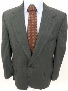 BRITCHES 100% Wool 2 Button Gray Striped Luxury Sport Coat Blazer 42L USA #Britches #TwoButton