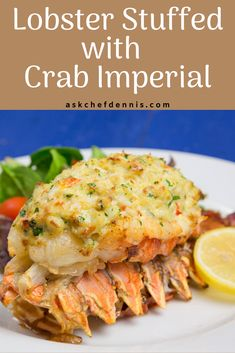Are you looking for the perfect date-night dinner, or a dish to impress your guests? My Lobster Stuffed with Crab Imperial is a delicious and easy to make restaurant-style meal that you can make in your own home at a fraction of the cost! Best Seafood Recipes, Lobster Recipes, Fish Recipes, Appetizer Recipes, Yummy Recipes, Recipies, Appetizers, Dinner Sides, Dinner Menu