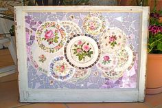 Mosaic Large Old Shabby Window with Vintage China and Stained Glass via Etsy