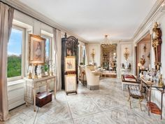 """In the section of East Harlem that Streeteasy has renamed """"Upper Carnegie Hill,"""" a co-op just hit the market that's fit for a king. Small Console Tables, Wooden Dining Tables, Leather Wall Panels, Fireplace Frame, Building A New Home, Home Room Design, Property Records, Apartment Design, Versailles"""