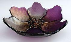 Purple Poppy Bowl by Laura Johnson Fused Glass