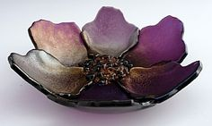 Purple Poppy Bowl by Laura Johnson Fused Glass