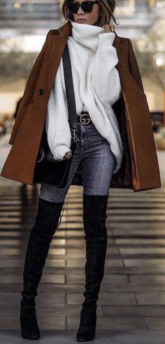 Over The Knee Boots / Herbst Straße Stil Mode / # Stiefel # Fallmode # Mode Over The Knee Boots / Fall Street Style Fashion / # Boots # Fall Fashion # Fashion Look Street Style, Street Style Trends, Autumn Street Style, Street Styles, Mode Outfits, Trendy Outfits, Fashion Outfits, Womens Fashion, Urban Chic Outfits