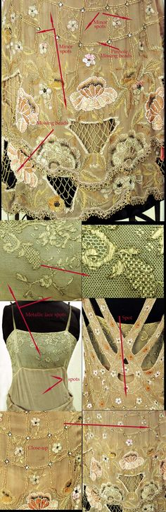 1920-1925 NEMSER ORIGINAL MODEL Evening Gown Cubist Style Rhinestone Beaded Silk