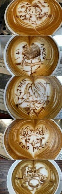 Luffy, Zoro, Sanji, Chopper, Ace, Sabo, hats, One Piece, latte art, text; Anime Food