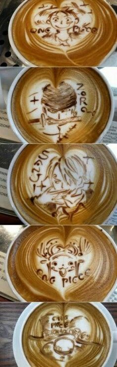 Luffy, Zoro, Sanji, Chopper, Ace, Sabo, hats, One Piece, latte art, text; Anime Food
