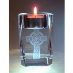 """Crystal T-Light / Votive This Solid Crystal T Light Holder / Votive is made from the finest quality Crystal, it stands 3"""" / 8cm high 14oz / 400g and comes in a gift box and candle. €11.50"""