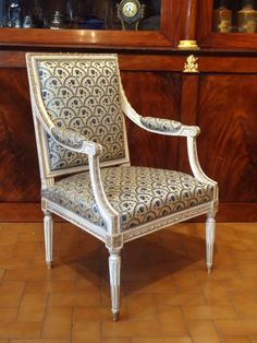Armchair with flat backrest. #Carved ribbons and beads. Tapered and caned legs. #Stamped #LANGLOIS. #LouisXVI, 18th century. for sale on Proantic by Laurence Helmer et Maison James.
