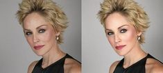 Sharon Stone Photoshop Makeover - the before and after of celebrity retouching and airbrushing ... for REAL makeovers for REAL women contact www.stylecreation.com.au !