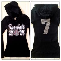Sequin Rhinestone Baseball Mom Hoodie Sweatshirt by Bowfriendz, $39.99