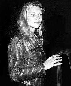 Kate Moss in biker leather