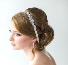 Bridal Ribbon Headband, Luxe Satin Ribbon Headband, Wedding Head Piece, Wedding Hair Accessory via Etsy