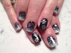 Black white sparkles and snowflakes
