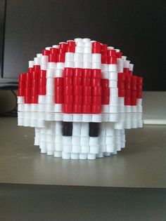 3D Super Mario Mushroom perler beads by eightbitbert on deviantART