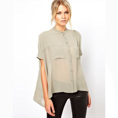 women shirt double pocket short-sleeve meters grey stand collar chiffon shirt female low-high dovetail shirt $19.85