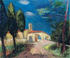 Charles Camoin, La Chapelle Sainte-Anne à Saint-Tropez Saint Tropez, Watercolor Bird, Watercolor Paintings, Chapelle, Classical Art, Henri Matisse, Sculpture, French Artists, Landscape Art