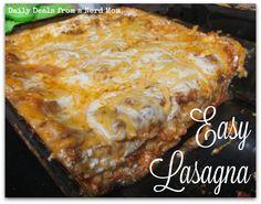 Easy Lasagna Recipe using Oven Ready Lasagna noodles and Victoria Fine Foods Pasta Sauce