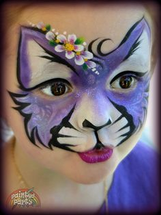Purple Glitter Kitty face painting by Denise Cold www.Paintedparty.com