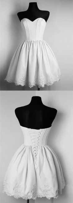 cute short silver satin sweetheart homecoming dresses lace appliques prom gowns for graduation party