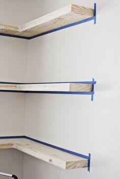 Fascinating Three White Maple Wood L Shaped Floating Corner Shelves For Seasoning Floating Corner Shelves Design