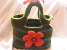 Colorful Green Felted Tote With Large Orange Flower.......Designs by Fredericka - $36.00 USD