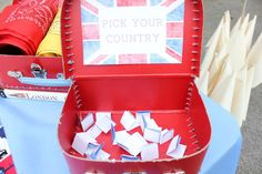 Cameron's Olympics | CatchMyParty.com We might do this or just let the guests choose what team they want to be on.