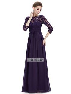 Purple Lace Short Sleeves V Back Sheath Floor Length Chiffon Long Prom Dress